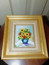 Signed Betty Chou Painting Enamel On Copper sunflowers vase Limited Ed 203/350