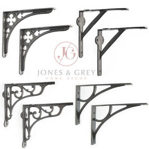 PAIR OF VINTAGE ANTIQUE VICTORIAN CAST IRON METAL WALL SHELF BRACKETS SUPPORTS