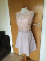 Ladies LIPSY Dress Size 16 Blush Pink Fit And Flare Party Evening Wedding