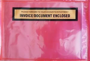 1000 - Invoice/Document Enclosed - Red Document Envelope Sticker Pouch 115X165MM