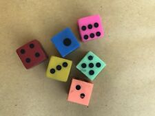 Vintage 80s Set Of Six Different Coloured Dice Erasers Rubbers