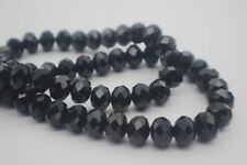 60 pce Black Faceted Crystal Cut Abacus Glass Beads 12mm x 8mm