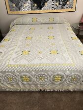 """Vintage Yellow and White Chenille Bedspread. 76"""" x 96"""" Flowers"""