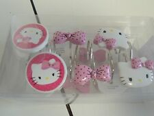 Hello Kitty PINK POLKA DOT BOWS BRAND NEW MIP SHOWER CURTAIN RINGS SET 12