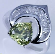 Crescent Ring New 2 Sizes Available Peridot Heart In Silver Cubic Zirconia