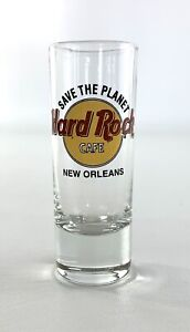 """HARD ROCK CAFE Rare """"Save The Planet"""" New Orleans Shot Glass Red Letters VG+"""