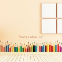 Wall Stickers Child Bedroom Colorful Pencil Decal Playroom Quality Lovely Decor