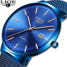 LIGE Men's Wristwatches Top Brand New Ultra Thin Fashion Simple Quartz Wristwatc