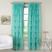 (2) Gypsy Ruffled Sheer Window Curtain Panels Solid Aqua Blue Shabby Chic 120X84