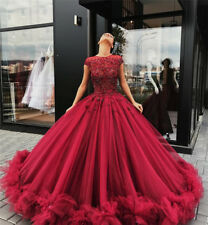 Red Tulle Appliques Ball Gown Prom Dress Sweet 16 Dresses Quinceanera Dresses