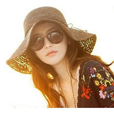 Women Girls Foldable Bohemia Wide Brim Roll-up Crocheted Straw Hat Beach Sun Vis