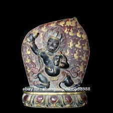 Tibet old Rock stone carved painted Vajrapani Mahakala Buddha Statue 28 cm