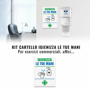 Cartello Segnaletica Igienizza le tue Mani, 17,5 x 25 cm