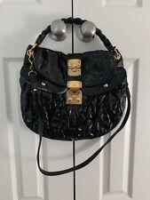 6ce98ea3a23 Auth miu miu Satchel Shoulder Hand Bag Patent leather Black Gold Hardware