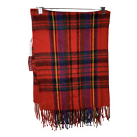 Merona Womens Scarf Over Size Red Plaid Fringe One Size Winter Fall Accessory
