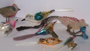8 Vintage Glass Christmas Bird Clip-on Ornaments