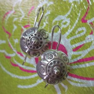 "Thai Hill Tribe Real Fine Silver Earrings Orecchini 1"" Vintage Umbrella Styles"