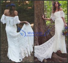 White/Ivory Bohemian Lace Off-the-shoulder Bridal Gown Wedding Dress Custom size
