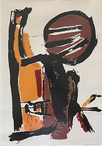 Super Cool Vintage 70s Abstract Print Modern Art Wall Hanging Mid Century Signed
