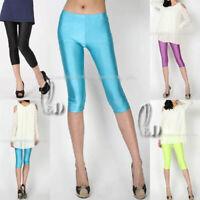 AU SELLER Women's Girl's Neon Shiny Dance Disco Yoga Short Tights Pants p023