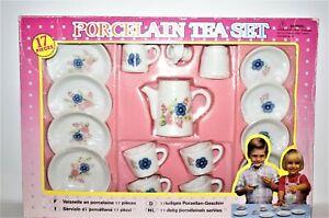 Doll Child China Tea Set 17 Piece, Flower Design, in box