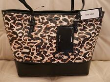 NEW WT MEDIUM Brown Black leopard cheetah NINE WEST Tote Shoulder Bag AVA PVC