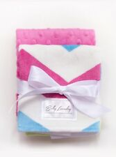 Hot Pink Chevron/Fushia Bump by Baby Laundry-Minky Burpies-Set of Two