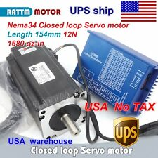 【US】 Nema34 12N.m Closed Loop Servo Motor 154mm 6A & HSS86 Hybrid Driver CNC Kit