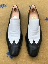 Gucci Mens Shoes Black White Leather Loafers UK 10 US 11 EU 44 Made in Italy