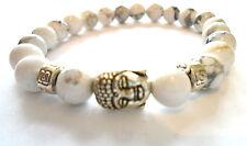 Buddha 8mm Naturale Bianco HOWLITE pietra perline argento Buddha Uomo Bracciale