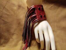 Handmade Leather Red Black Cuff Bracelet With Fringe Gothic, LARP, Festival