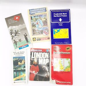 Europe Road Map England Germany France 1980s 1990s Vtg Car Touring Lot Of 6