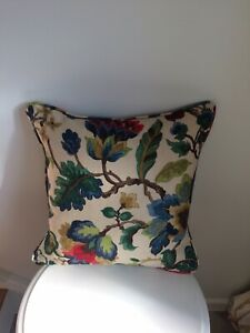 """SANDERSON FABRIC """"AMANPURi"""" PIPED CUSHION COVER RUBY & EMERALD 17""""x17"""""""