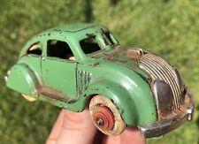 RARE 1930s Airflow Car Toy ORIGINAL HUBLEY Antique Cast Iron Vintage Wood Rim