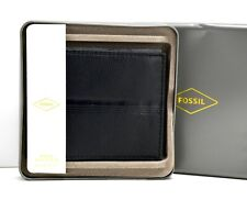 Fossil Roger Mens Leather Bifold Card ID Wallet Black