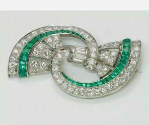2.00 Ct Princess Cut Emerald & Diamond Antique Pin Brooch 14K White Gold Finish