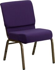 Lot 5O 21'' Extra Wide Royal Purple Fabric Stacking Church Chair