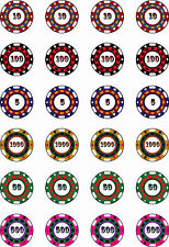 Birthday Mens Party Poker Casino Game Chips Cup Cake Toppers Rice Paper 24x1.5""