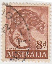 (W1374) 1959 AU 8d brown tiger cat (C)