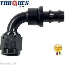 AN -12 (12AN JIC AN12) 90 Degree Push-On Socketless Fuel Hose Fitting In Black