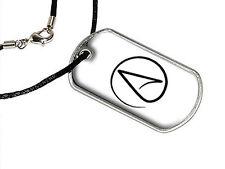 Atheism Symbol - Atheist - Black on White - Dog Tag Black Satin Cord Necklace