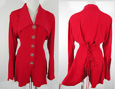 VTG 80s HOT Red CHIC Mini Short Bodysuit Jumpsuit Romper Bell Sleeve Bodice S/M*
