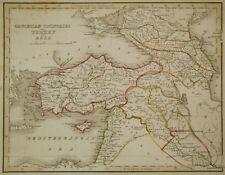 1835 Genuine Antique map Turkey & Holy Land, Bradford