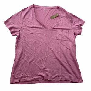 J.Crew Women's Size XL PInk Purple 100% LInen V-Neck Short Sleeve T-Shirt Top