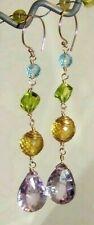 14k Gold Pastel Gemstone Briolette Linear Chandelier Earrings