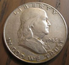 1948-D Franklin Half Dollar XF Details Lots of Bell Lines Remain - Uncleaned