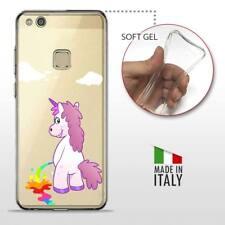 Huawei P10 Lite TPU CASE COVER PROTETTIVA GEL TRASPARENTE Unicorni Arcobaleno