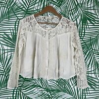 Chelsea & Violet Cream White Embroidered Lace Peasant Top Women's Size Small
