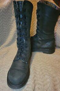 Women's Dr. Martens 12107 Triumph Gray Leather Pink Plaid Boots Size 10