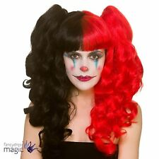 Pigtail Comic Villain Clown Harlequin Halloween Wig Fancy Dress Outfit Accessory